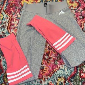 Adidas pink and grey color-block leggings